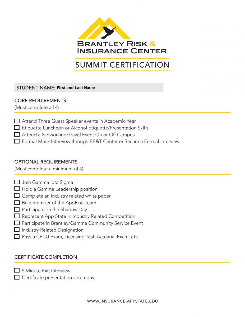 Summit Certification Program doc