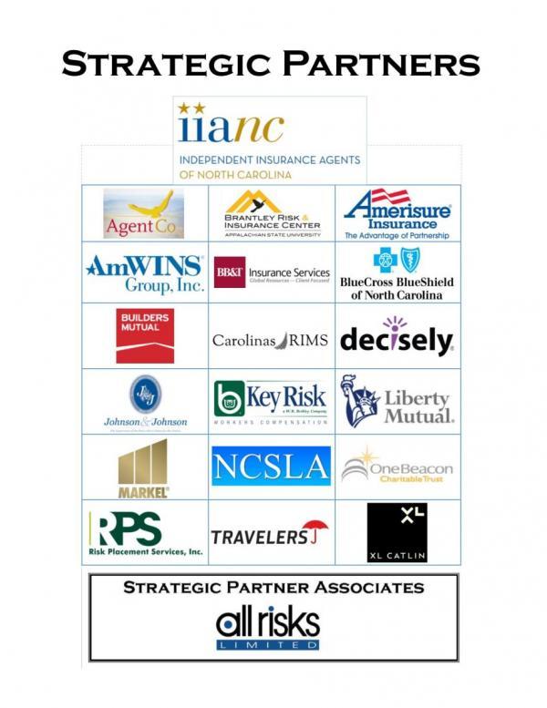 Strategic Partner logos, including IIANC, Blue Cross Blue Shield of NC, Liberty Mutual, Travelers, etc.
