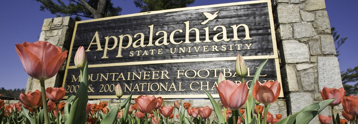 Appalachian State University entrance sign with tulips blooming in front
