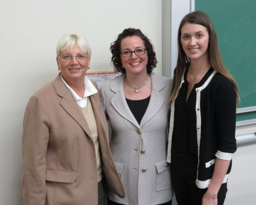 Dr. Karen Epermanis, Robin Joines, and App State Gamma Iota Sigma chapter President Cecilia Yanez